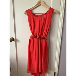Coral High Low Summer Dress